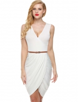 Meaneor White Women без рукавов глубокая V шеи Wrap Slim Belted Dress