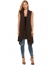 Brown Sleeveless Asymetric Hem Open Front Solid Coat