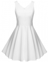 White Meaneor Women Sleeveless V-Neck Pure Color Slim Mini Pleated Casual Dresses