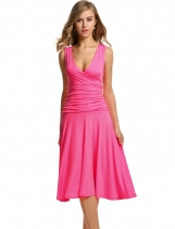 Meaneor Pink Women Sleeveless Stretch V-Neck Draped Calf Length Pleated Party Dresses