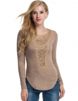 Khaki Lace Decor Front Long Sleeve O-Neck Slim Fit T-Shirts