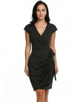 Zeagoo Black Women's Classic Cap Sleeve V-Neck Draped Tie-Belt Cocktail Wrap Party Dresses