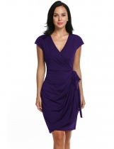 Zeagoo Purple Women's Classic Cap Sleeve V-Neck Draped Tie-Belt Cocktail Wrap Party Dresses