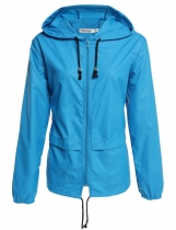 Sky blue Lightweight Waterproof Hoodie Raincoat Cycling Sport Jacket