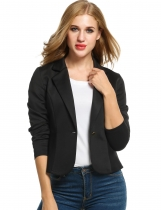 Black Casual Long Sleeve Turn Down Collar Solid Jacket