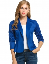 Dark blue Casual Long Sleeve Turn Down Collar Solid Jacket