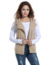 Meaneor Khaki Women Casual Hooded Slim Solid Zip Up Spring Fleece Vest with Pockets Coats & Jackets