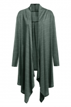 Green Zeagoo Women's Long Sleeve Asymmetric Hem Drape Open Front Sweaters & Cardigans