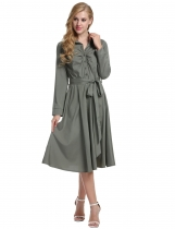 Gray 1950s Turn Down Collar Shirt Long Sleeve Belt Swing Casual Dress