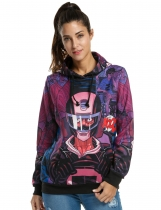 Rose red Women's Fashion Print Thicken Pullover Hooded Hoodies & Sweatshirts
