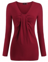 Zeagoo Wine red Women's V-Neck Twist Knot Front Long Sleeve Solid & Blouses Tank T-Shirts Casual Tops