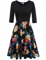 Meaneor Black Blue Women Medium Sleeve Pleated Floral Print Large Swing Slim Casual Dresses