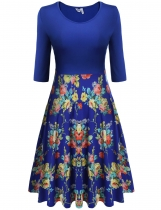 Meaneor Blue Women Medium Sleeve Pleated Floral Print Large Swing Slim Casual Dresses
