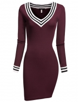 Wine red V-neck Long Sleeve Bodycon Knitting Package Hip Going Out Dress