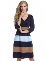 Navy Blue and Blue Sexy V-Neck 3/4 Sleeve Striped A-Line Casual Dress