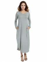 ACEVOG Gray Women O-Neck Long Sleeve Side Slit Pocket Loose Maxi Casual Dresses