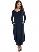 ACEVOG Navy blue Women O-Neck Long Sleeve Side Slit Pocket Loose Maxi Casual Dresses