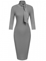Gray Bow Turtleneck 3/4 Sleeve Bodycon Карандаш платье