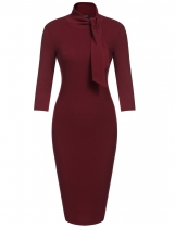 Wine red Bow Turtleneck 3/4 Sleeve Bodycon Pencil Dress