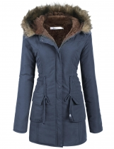 Damen Casual Kapuzen warme Winter Tunnelzug Taille Mantel Fleece gefüttert Parka