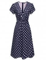 Navy blue Women's Knot Deep V-Neck Polka Dots Vintage Style A-Line Dress