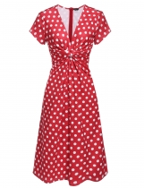 Red Women's Knot Deep V-Neck Polka Dots Vintage Style A-Line Dress