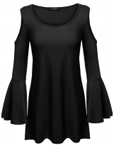 Black Pleated Asymmetrical Hem Off the Shoulder Flare Sleeve O-Neck Long Solid Loose Elastic Pullover Top