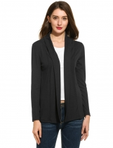 Black Long Sleeve Solid Open Stitch Knit Cardigan