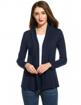 Navy blue Long Sleeve Solid Open Stitch Knit Cardigan