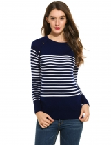 Casual O-Neck Long Sleeve Striped Pullover Sweaters