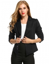 Black Long Sleeve Solid Casual Work Office Slim One Button Blazer