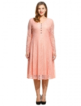 Femmes V-Neck Button Long Sleeve Evening Party Lace Pleated Midi Dress Plus Size