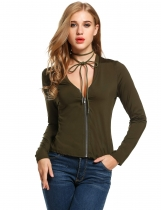 Army green Women Deep V-Neck Long Sleeve Solid Zip-up Short Coats & Jackets