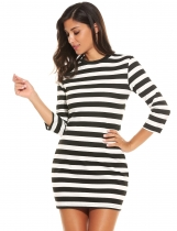 Women Fashion Slim Round Neck 3/4 Sleeve Striped Pencil Short Dress