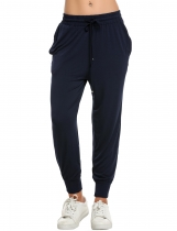 Navy blue Women Casual Drawstring Loose Soft Jogger Pants Sportwear Fitness & Exercise