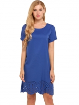 Blue Solid Hollow Out Hem Straight Mini Dress