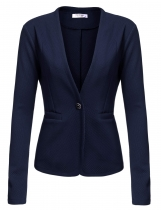 Dark blue Long Sleeve Casual Work Office Slim Single Button Blazer