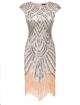 Mulheres Art Deco Tassel 1920s Style Party Wedding Slim gatsby O Neck Flapper Dress