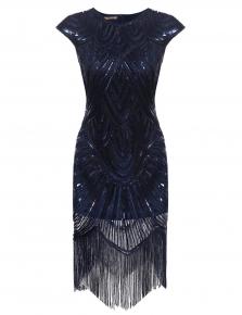 Women Art Deco Tassel Party Wedding Slim O Neck Flapper Dress a75ab50af28a