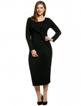 Women Plus Sizes Round Neck Long Sleeve Solid Draped Party Long Maxi Bodycon Dress