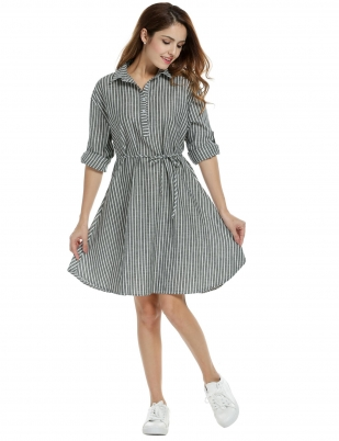 e28cf52244 Women Casual Striped Long Roll Up Sleeve Belted A-Line Shirt Dress
