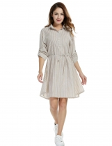 Meaneor Khaki Women Striped Long Roll Up Sleeve Belted A-Line Shirt Casual Dresses