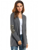 Mulheres Casual Shawl Collar manga comprida Cardigan Loose Outwear
