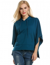 Meaneor Blue Hooded Pullover Casual Batwing Poncho Cape Hoodies & Sweatshirts