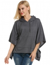 Meaneor Dark gray Hooded Pullover Casual Batwing Poncho Cape Hoodies & Sweatshirts