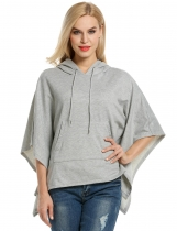 Meaneor Gray Hooded Pullover Casual Batwing Poncho Cape Hoodies & Sweatshirts