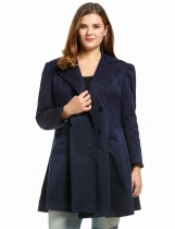 Navy blue Plus Size Long Sleeve Lapel Collar Trench Coat