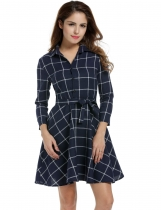 Navy blue Lapel 3/4 Sleeve Plaid Belted Casual Swing Shirt Casual Dress