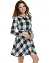 White Lapel 3/4 Sleeve Plaid Belted Casual Swing Shirt Casual Dress
