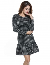 Meaneor Black Women Vintage Style Polka Dot Long Sleeve Bodycon Slim A-Line Going Out Dresses